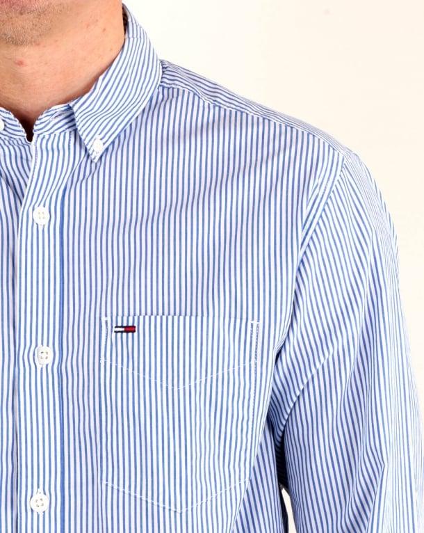 ce80bdcf Tommy Hilfiger Classic Stripe Shirt White/Blue, Mens, Cotton, Buttons
