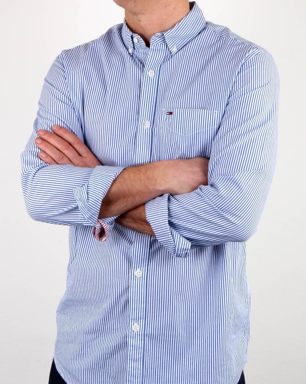 Tommy hilfiger classic stripe shirt white blue mens for Tommy hilfiger fitzgerald striped shirt