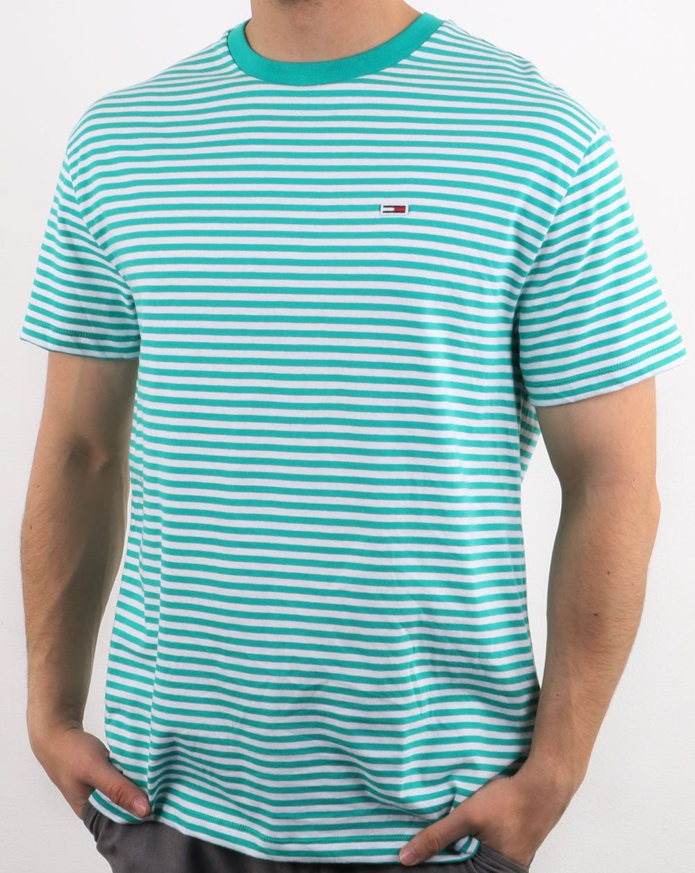 9952f141 Tommy Hilfiger Striped T Shirt in Green and White | 80s Casual Classics
