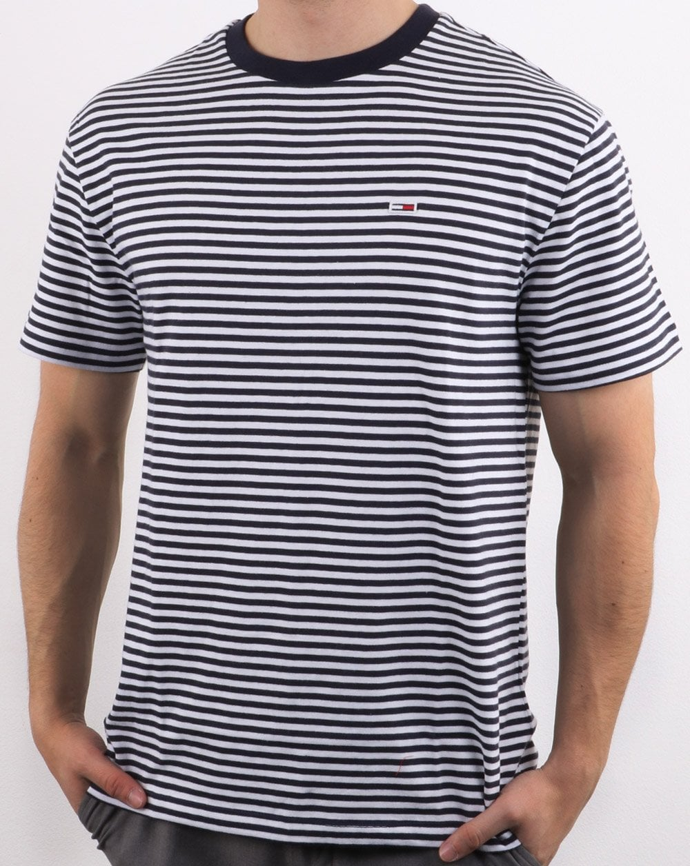 8ae597d4 Tommy Hilfiger Striped T Shirt in Navy and White | 80s Casual Classics