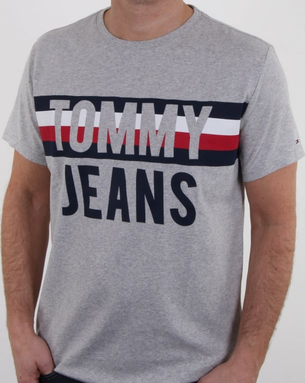 Tommy Hilfiger Colorblock Font T Shirt Light Grey Marl
