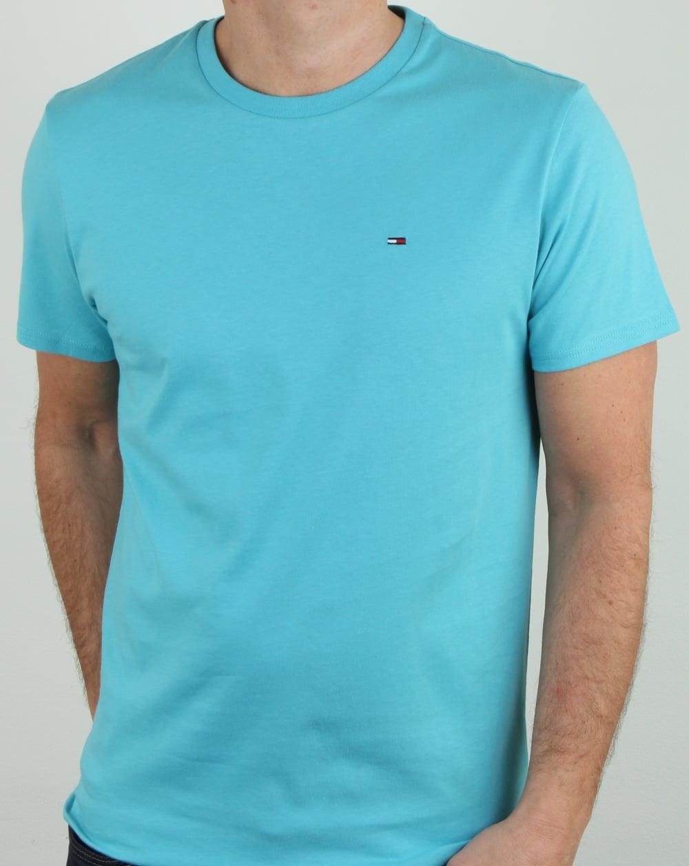46a006116 Tommy Hilfiger Jeans Tommy Hilfiger Cotton Crew Neck T Shirt Aqua Blue