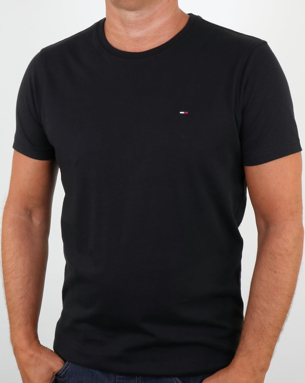 bd30a0be Tommy Hilfiger Cotton Crew Neck T Shirt Black | 80s casual classics