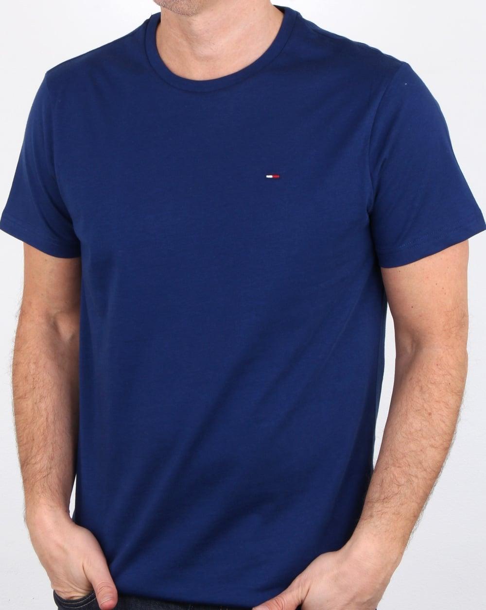 f90491c6ffca Tommy Hilfiger Jeans Tommy Hilfiger Cotton Crew Neck T Shirt Blue
