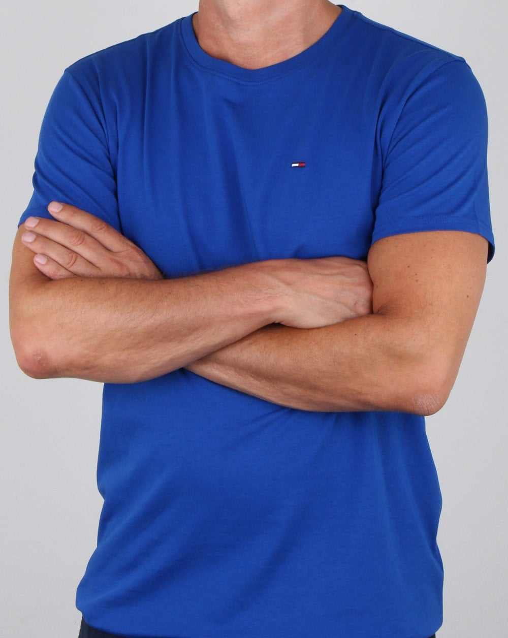 Tommy Hilfiger Mens Organic Cotton Crew Neck T-Shirt Blue