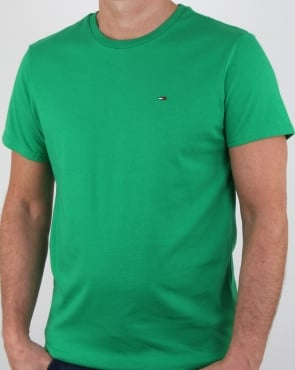 Tommy Jeans Tommy Hilfiger Cotton Crew Neck T Shirt Jellybean Green