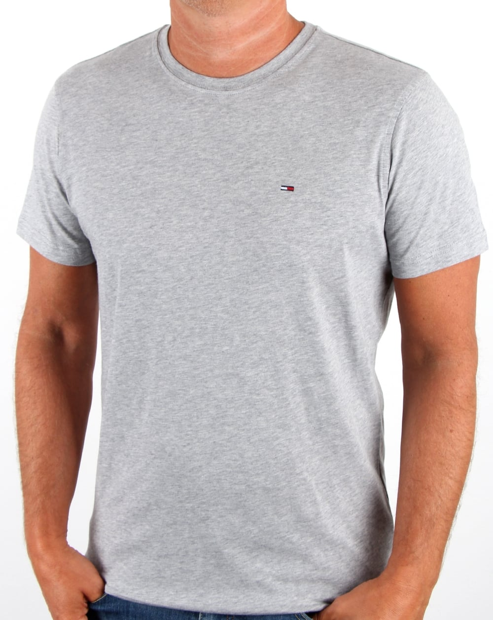 b3b817231 Tommy Hilfiger Jeans Tommy Hilfiger Cotton Crew Neck T Shirt Light Grey  Heather
