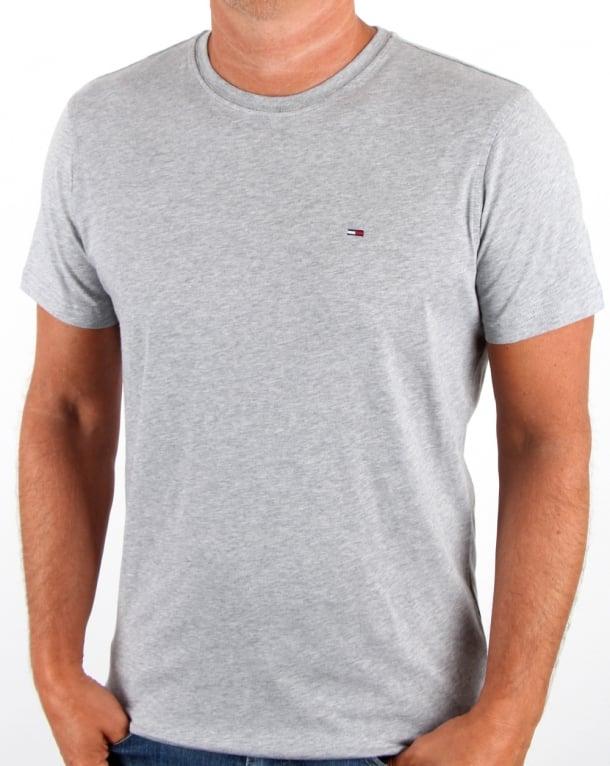 Tommy Hilfiger Cotton Crew Neck T Shirt Light Grey Heather