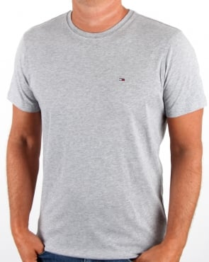 Tommy Jeans Tommy Hilfiger Cotton Crew Neck T Shirt Light Grey Heather