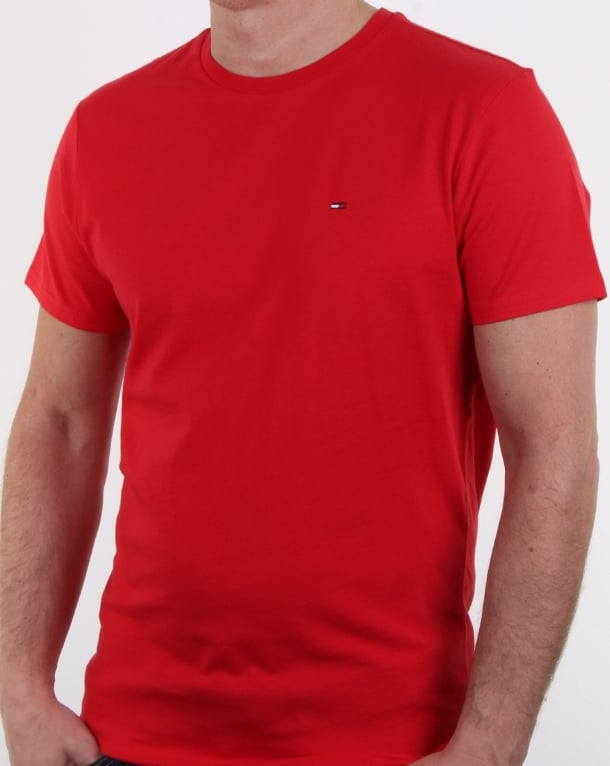 Tommy Hilfiger Cotton Crew Neck T Shirt Racing Red