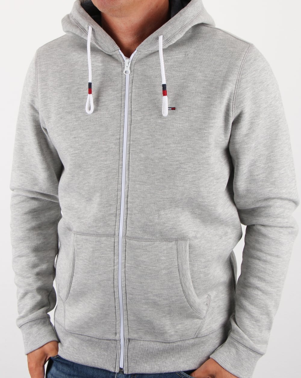 Details about Tommy Hilfiger Cotton Fleece Hoody in Light Grey Heather hoodie hooded sweat
