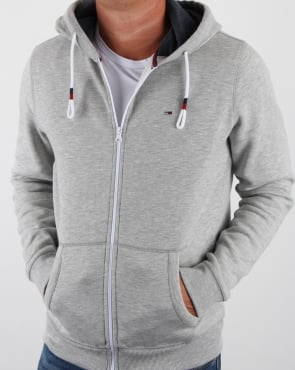 Tommy Jeans Tommy Hilfiger Cotton Fleece Hoody Light Grey Heather