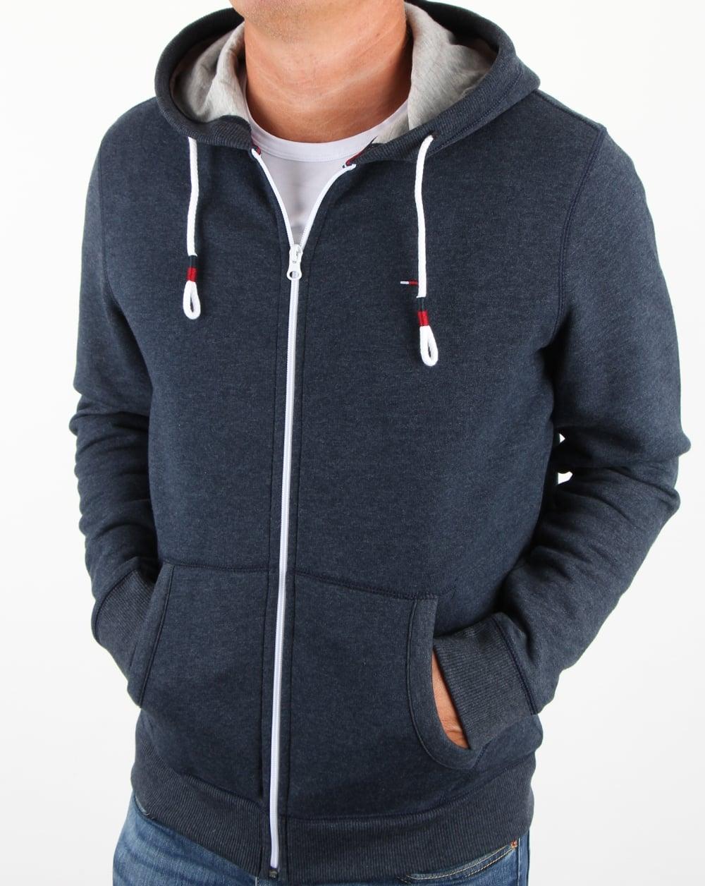 tommy hilfiger cotton fleece hoody navy hooded sweatshirt mens. Black Bedroom Furniture Sets. Home Design Ideas