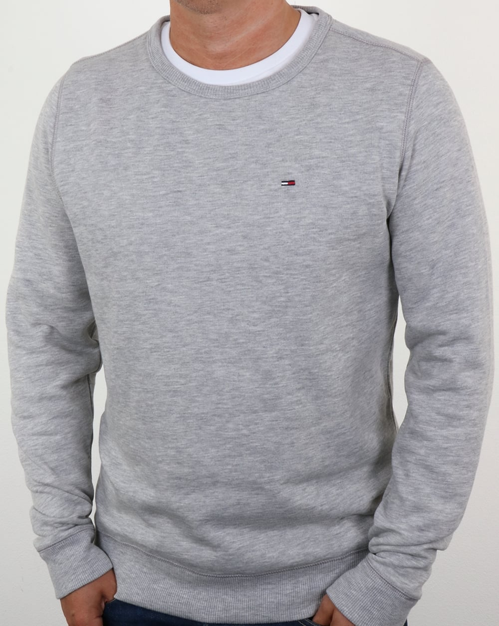 tommy hilfiger cotton fleece sweatshirt light grey heather jumper mens. Black Bedroom Furniture Sets. Home Design Ideas