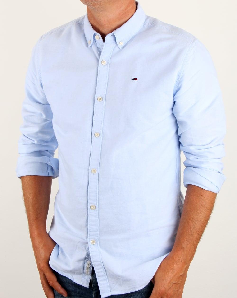 Tommy hilfiger cotton oxford shirt light blue long sleeve mens for Mens blue oxford shirt