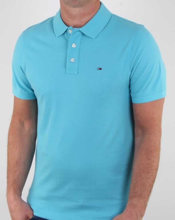 Tommy Hilfiger Cotton Pique Polo Shirt Aqua Blue