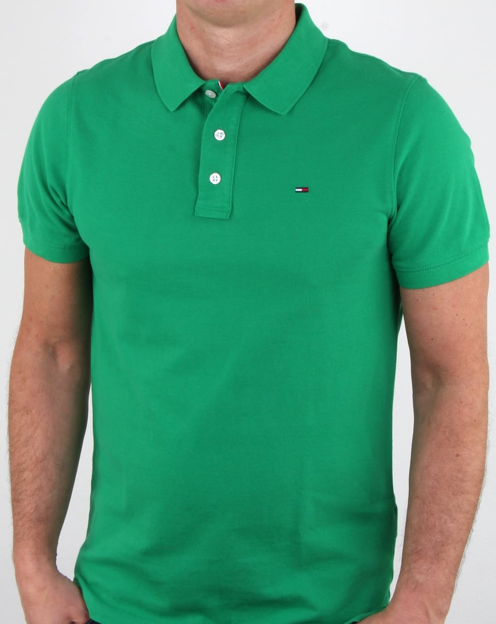 b1b43264 Tommy Hilfiger Cotton Pique Polo Shirt Green, Mens, Polo Shirt, Cotton
