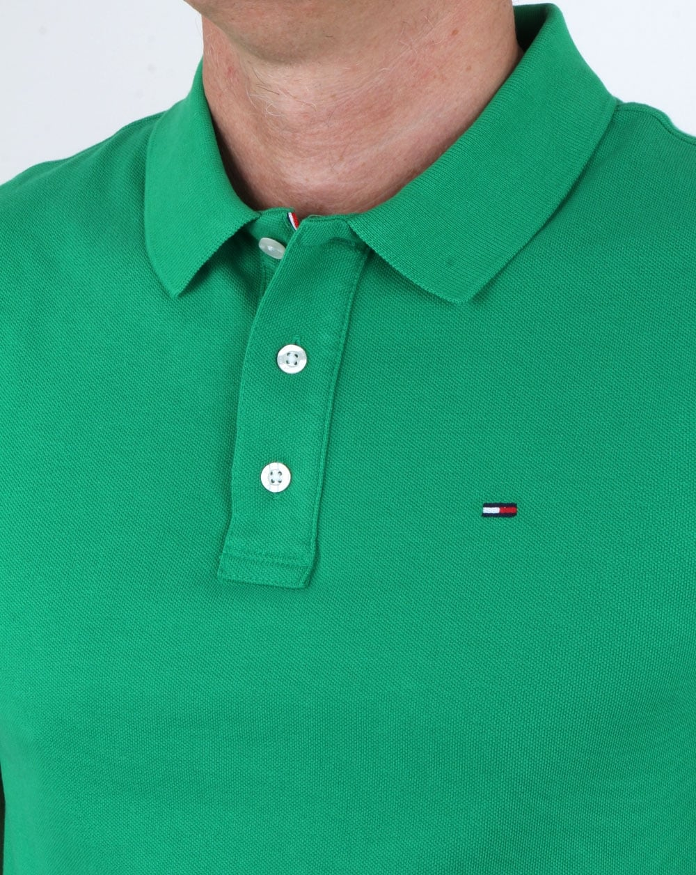 Tommy Hilfiger Cotton Pique Polo Shirt Green Mens Polo Shirt Cotton