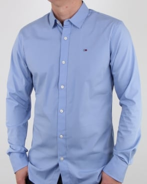 Tommy Hilfiger Jeans Tommy Hilfiger Cotton Stretch Shirt Deep Sky Blue