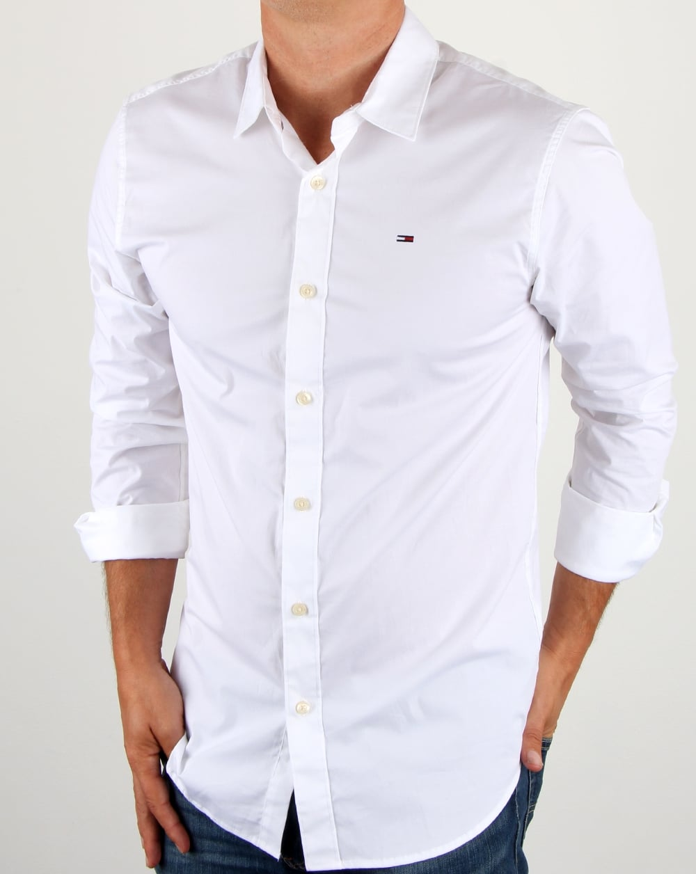 Tommy Hilfiger Jeans Tommy Hilfiger Cotton Stretch Shirt White 0bcf071e98812