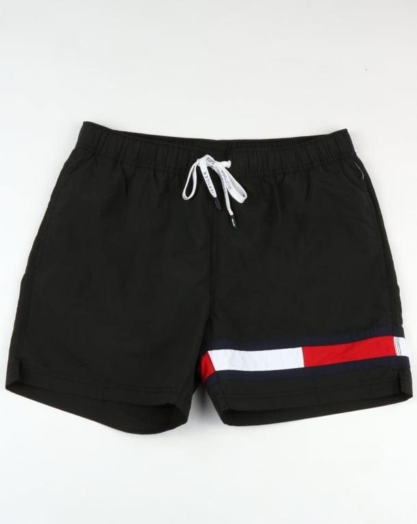 Tommy Hilfiger Flag Leg Swim Shorts Black