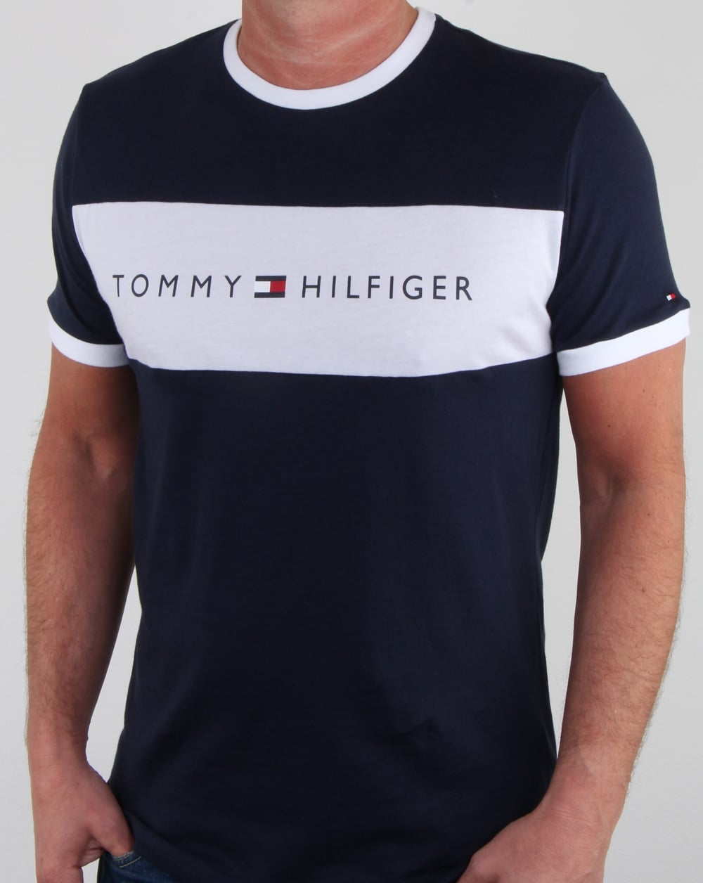 704eba8b1 Tommy Hilfiger Flag Logo T Shirt Navy, Mens, Tee, Cotton, Crew, Tommy