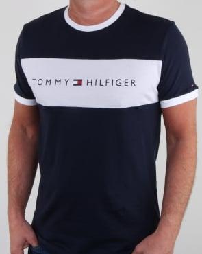 Tommy Jeans Tommy Hilfiger Flag Logo T Shirt Navy