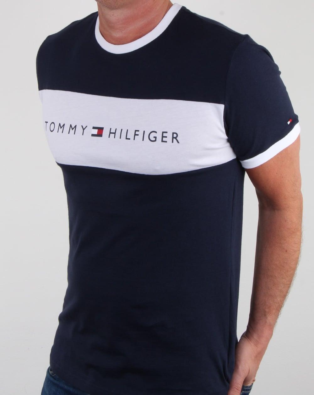 7cc5b996 Tommy Hilfiger Flag Logo T Shirt Navy, Mens, Tee, Cotton, Crew, Tommy