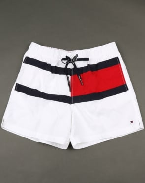Tommy Jeans Tommy Hilfiger Flag Swim Shorts Bright White
