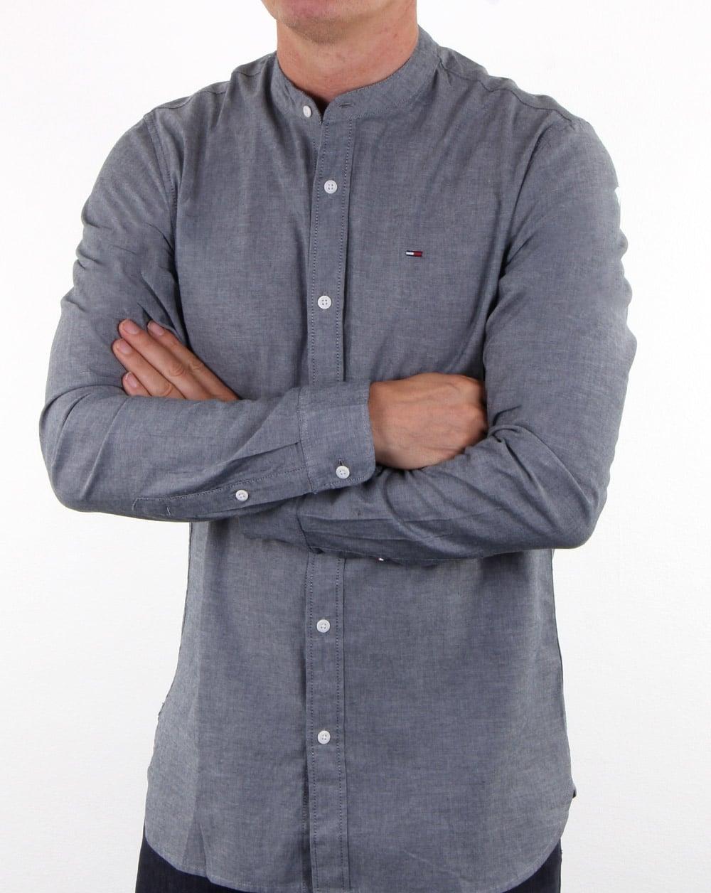 3bc3df6ee2 Tommy Hilfiger Grandad Collar Shirt Dark Indigo, Mens, Smart, Cotton