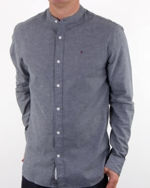 Tommy Jeans Tommy Hilfiger Grandad Collar Shirt Dark Indigo