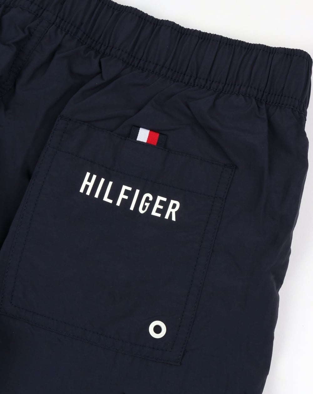 d1a3f89ad5 Tommy Hilfiger Linear Logo Swim Shorts Navy | 80s casual classics