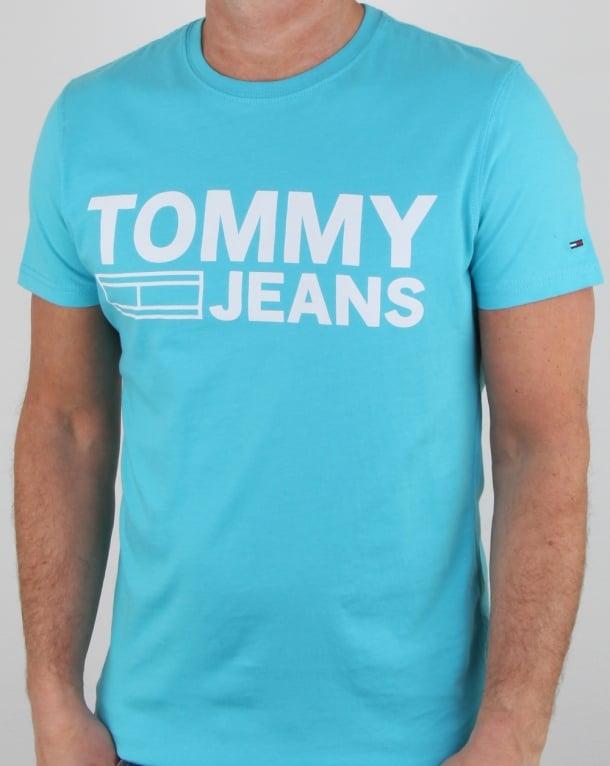 Tommy Hilfiger Logo T Shirt Aqua Blue