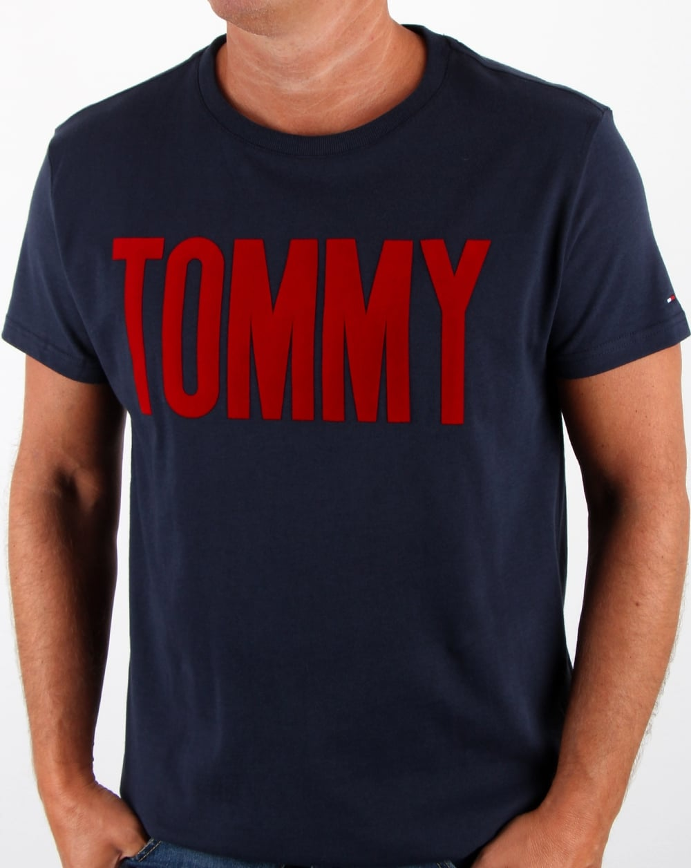 tommy hilfiger logo t shirt navy men 39 s tee cotton crew. Black Bedroom Furniture Sets. Home Design Ideas