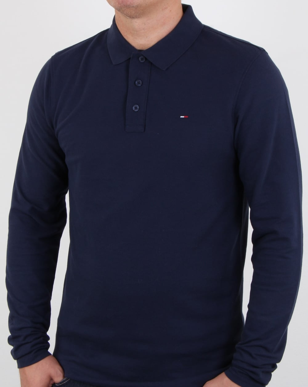 a5f23d7a090ac7 Tommy Hilfiger Long Sleeve Polo Shirt Navy