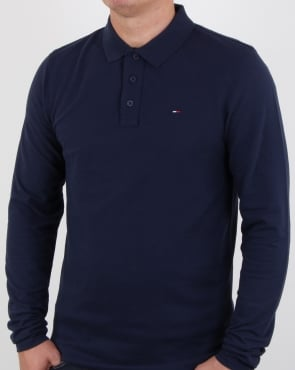 Tommy Jeans Tommy Hilfiger Long Sleeve Polo Shirt Navy