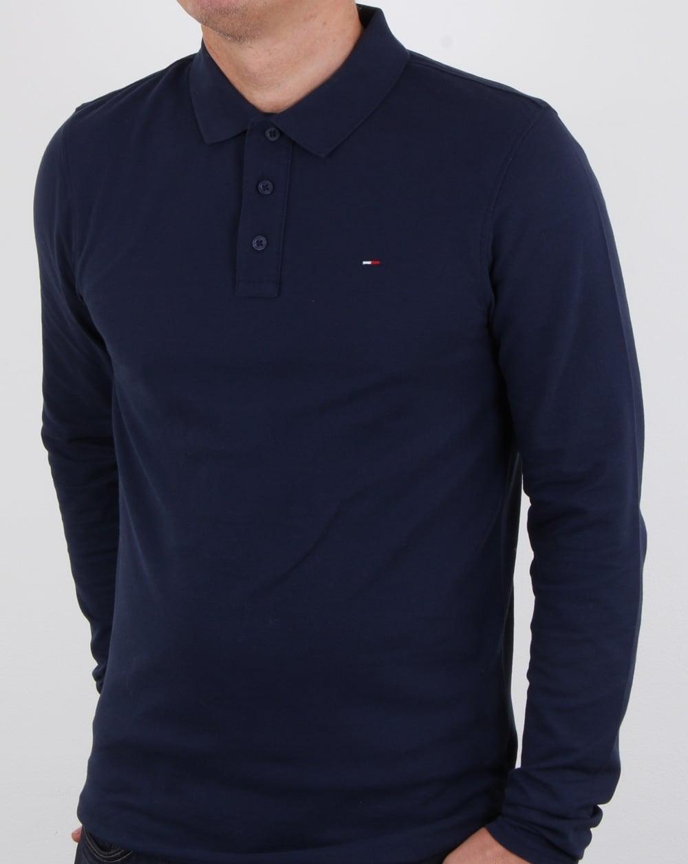 c98534c9ffe175 Tommy Hilfiger Long Sleeve Polo Shirt Navy, Mens, Cotton, Long Sleeve