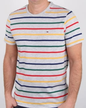 Tommy Jeans Tommy Hilfiger Multi Stripe T Shirt White