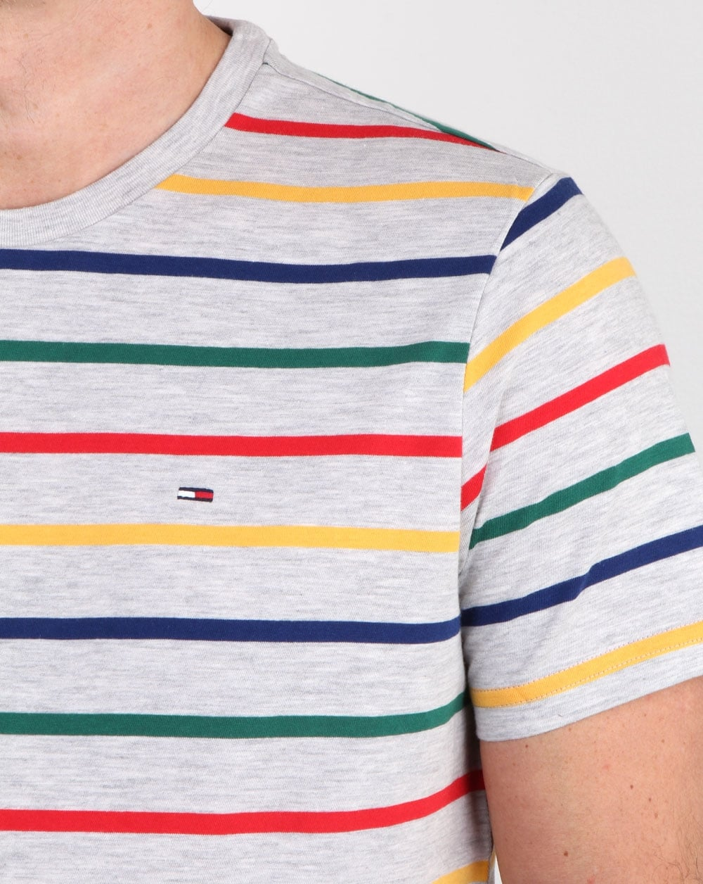 Tommy hilfiger multi stripe t shirt white mens tee cotton for Tommy hilfiger fitzgerald striped shirt