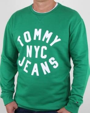 Tommy Jeans Tommy Hilfiger Nyc Logo Sweatshirt Jellybean Green
