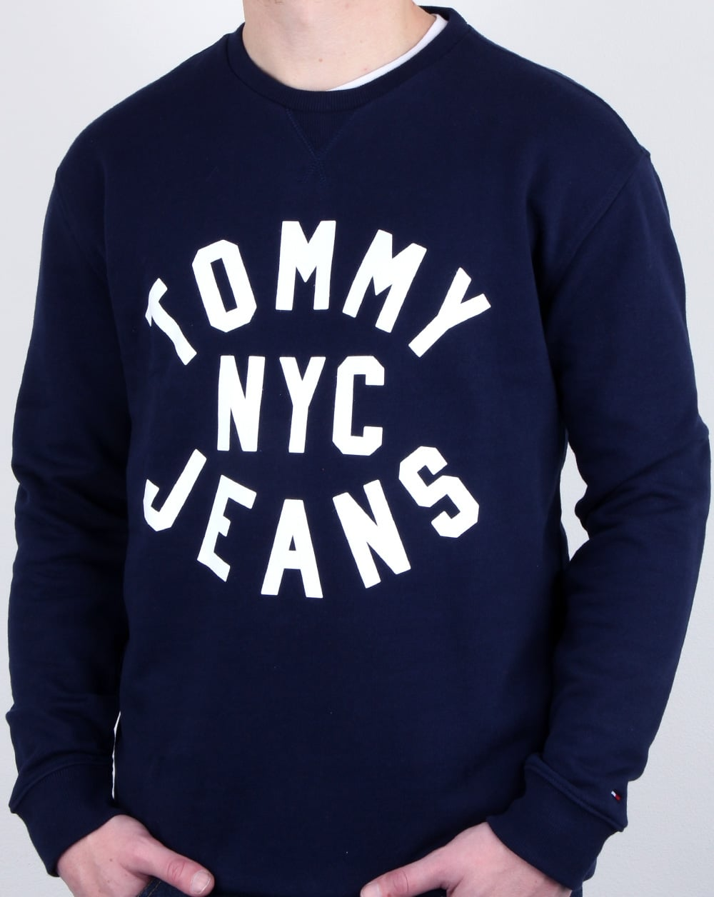 479653bb Tommy Hilfiger NYC Logo Sweatshirt Navy, Mens, Cotton, Crew Neck