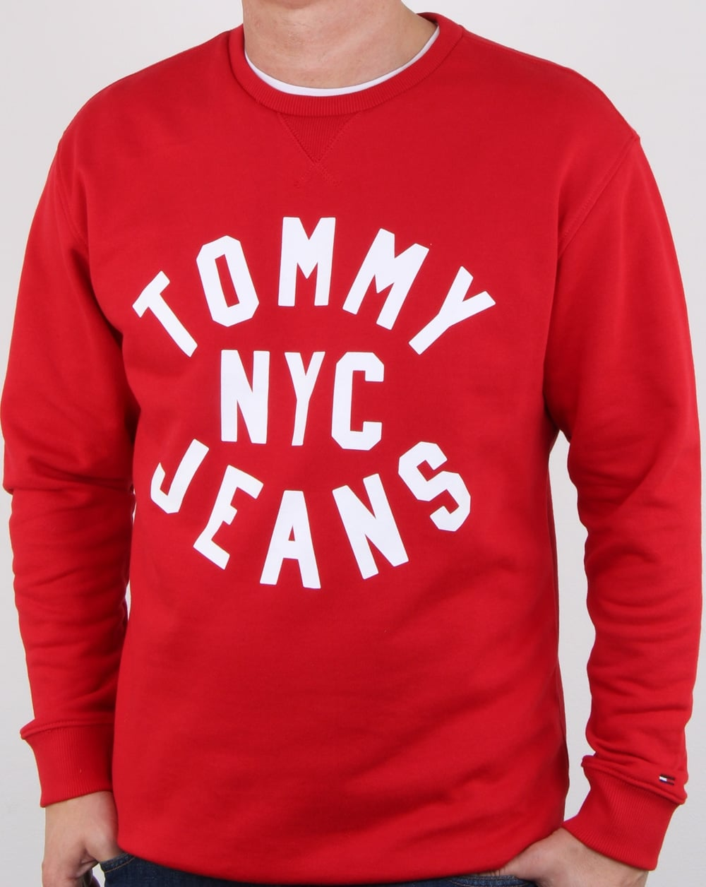 d4e83352 Tommy Hilfiger Nyc Logo Sweatshirt Racing Red, Mens, Sweatshirt, Crew