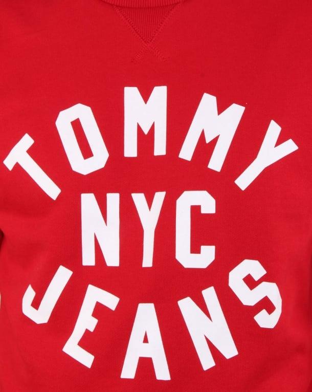 fbf06174 Tommy Hilfiger Nyc Logo Sweatshirt Racing Red, Mens, Sweatshirt, Crew