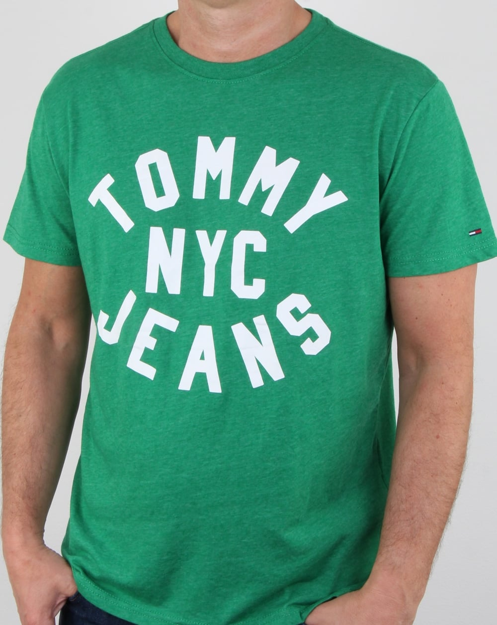 a842e107 Tommy Hilfiger Nyc Logo T Shirt Jellybean Green | 80s casual classics