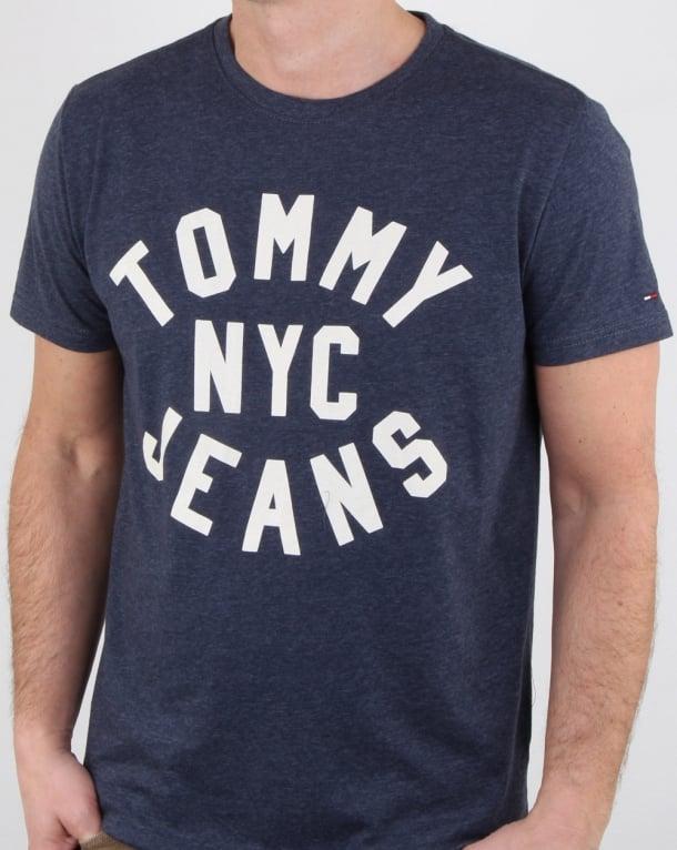 Tommy Hilfiger Nyc Logo T Shirt Navy Marl