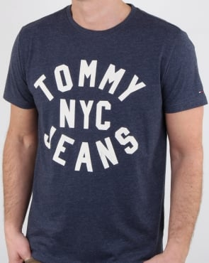 Tommy Hilfiger Jeans Tommy Hilfiger Nyc Logo T Shirt Navy Marl