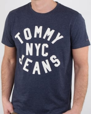Tommy Jeans Tommy Hilfiger Nyc Logo T Shirt Navy Marl