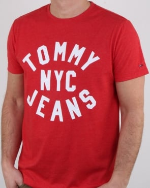 Tommy Jeans Tommy Hilfiger Nyc Logo T Shirt Red