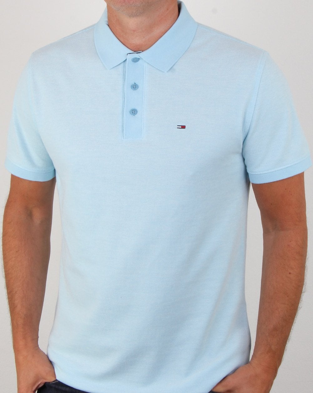 536606fe Tommy Hilfiger Summer Oxford Polo Sky Blue, Mens, Polo, Tommy, Pique