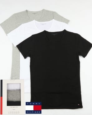 Tommy Jeans Tommy Hilfiger Premium Essentials 3 Pack T Shirts Black/White/Grey